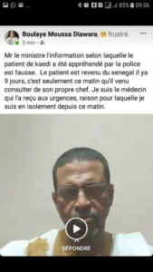 Capture du post sur le compte facebook du Dr Diawara