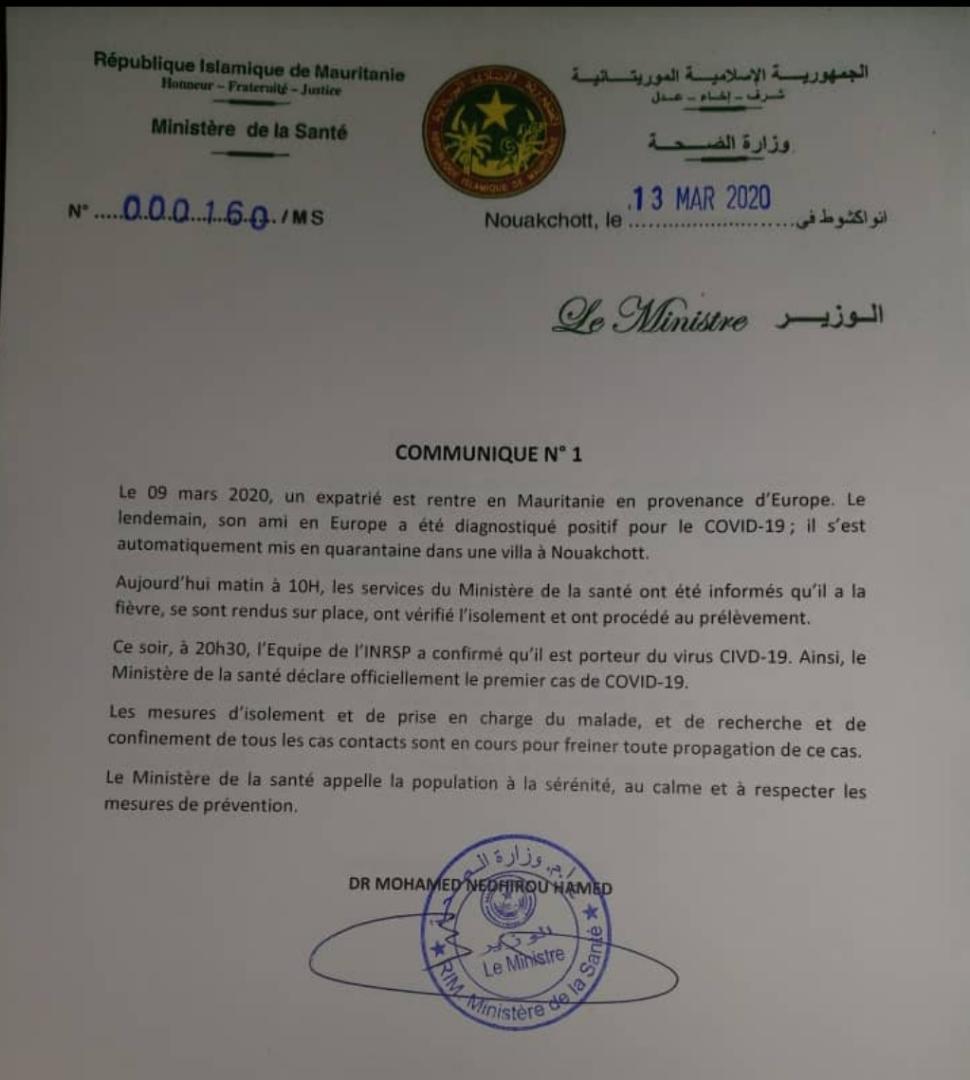 Screen du communiqué du ministère de la santé - cornavirus en Mauritanie
